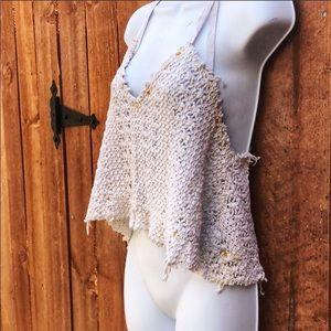 FREE PEOPLE Beach Ivory Crochet Knit Tank Top XS